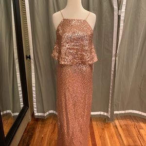 "Theia ""Azalea' long sequin gown in rose gold"